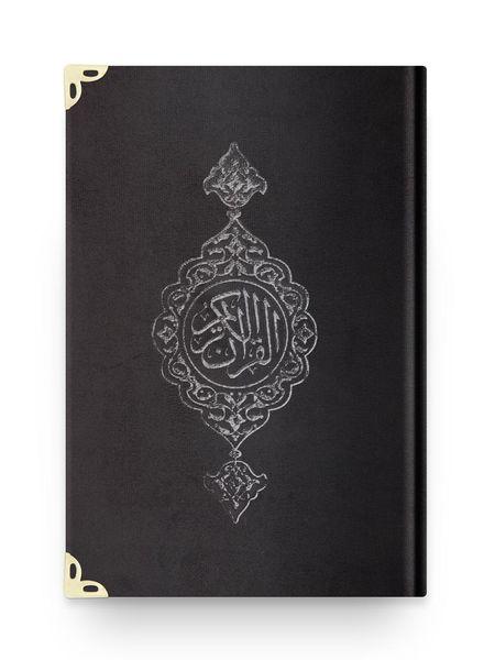 Orta Boy Kadife Kur'an-ı Kerim (Siyah, Yaldızlı, Mühürlü)