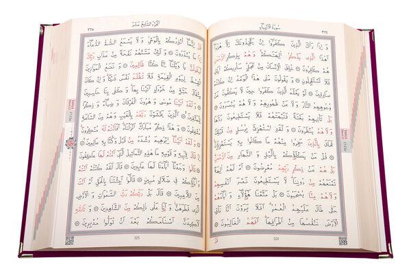 Kadife Kutulu Kur'an-ı Kerim (Orta Boy, Güllü, Kırmızı)