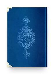 Rahle Boy Kadife Kur'an-ı Kerim (Lacivert, Yaldızlı, Mühürlü) - Thumbnail