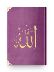 Rahle Boy Kadife Kur'an-ı Kerim (Lila, Nakışlı, Yaldızlı, Mühürlü) - Thumbnail