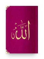 Rahle Boy Kadife Kur'an-ı Kerim (Fuşya Pembe, Nakışlı, Yaldızlı, Mühürlü) - Thumbnail
