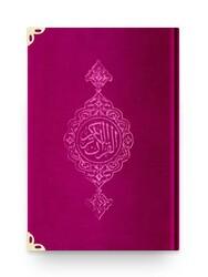 Rahle Boy Kadife Kur'an-ı Kerim (Pembe, Yaldızlı, Mühürlü) - Thumbnail