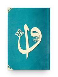 Rahle Boy Kadife Kuran-ı Kerim (Turkuaz, Elif-Vavlı, Mühürlü) - Thumbnail