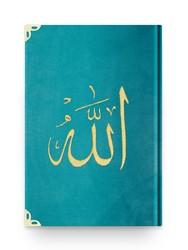 Rahle Boy Kadife Kur'an-ı Kerim (Turkuaz, Nakışlı, Yaldızlı, Mühürlü) - Thumbnail