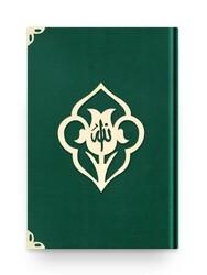 Rahle Boy Kadife Kuran-ı Kerim (Zümrüt Yeşil, Güllü, Mühürlü) - Thumbnail