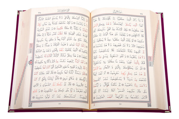 Kadife Kutulu Kur'an-ı Kerim (Rahle Boy, Elif-Vavlı, Kırmızı)