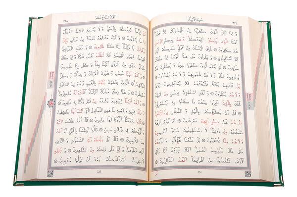 Kadife Kutulu Kur'an-ı Kerim (Rahle Boy, Güllü, Yeşil)