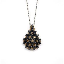 Siyah Cevşen Kolye (Kristal, Damla) - Thumbnail