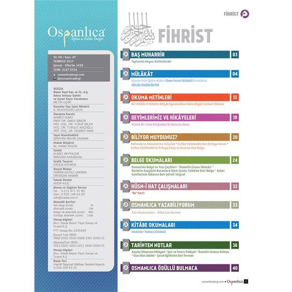 Temmuz 2017 Osmanlıca Dergisi