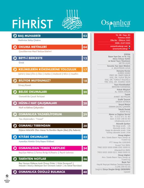 Temmuz 2020 Osmanlıca Dergisi