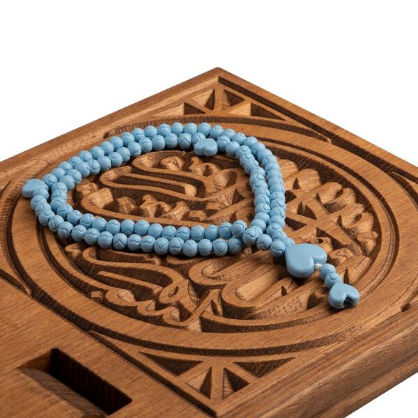 Gül Kokulu Tesbih Mavi (Kalp Desenli)