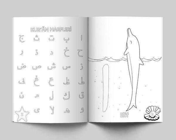 Yunuslarla Kur'an Harflerini Öğreniyorum (Boyama Kitabı)