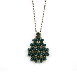 Zümrüt Yeşili Cevşen Kolye (Kristal, Damla) - Thumbnail