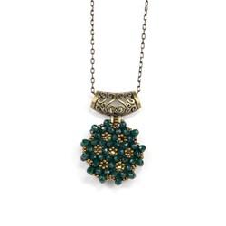 Zümrüt Yeşili Cevşen Kolye (Kristal, Yuvarlak) - Thumbnail