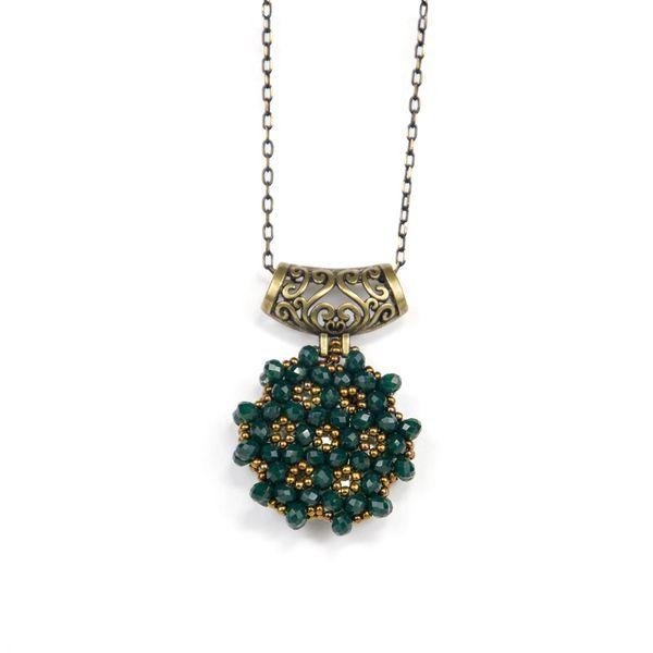 Zümrüt Yeşili Cevşen Kolye (Kristal, Yuvarlak)